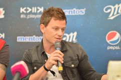 DJ Fedde le Grand gives a press conference . stock photography
