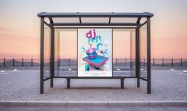 DJ-Festanschlagtafel auf Bushaltestellekiosk lizenzfreie abbildung