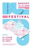 Dj festival poster. Design template. Music flyer. Vector line illustration Royalty Free Stock Images