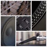 DJ filetea el collage Imagenes de archivo