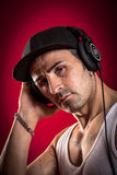 DJ in front of a red Background Royalty Free Stock Photos