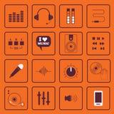 DJ, geluid, en geplaatste muziek vlakke pictogrammen Vector Illustratie