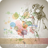 DJ girl & color paint Stock Photography