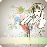 DJ Girl & Color Paint Royalty Free Stock Photos