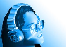 DJ Girl With Headphones Royalty Free Stock Images