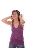 DJ Girl listening to music Stock Photo