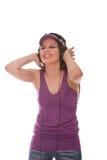 DJ Girl listening to music Stock Photo