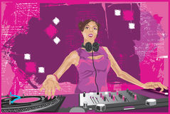 DJ Girl Mixing It Up 2 Stock Photography
