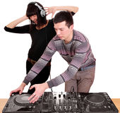 Dj and girl playing music Royalty Free Stock Photos
