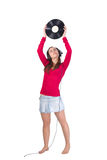 DJ girl with vinyl plate Stock Images