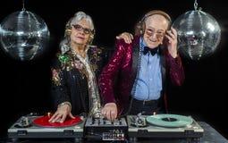 Dj grandma and grandpa Royalty Free Stock Image