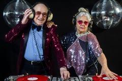 Dj grandma and grandpa Stock Photography