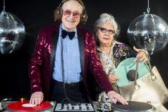 Dj grandma and grandpa Royalty Free Stock Images