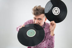 DJ gryźć winylowego rejestr Obrazy Royalty Free