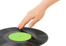 DJ hand and disk Royalty Free Stock Image