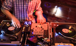 DJ hands at work Royalty Free Stock Photography