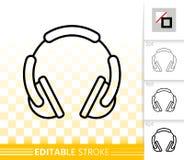 Dj Headphone simple black line vector icon royalty free illustration