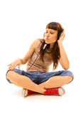 Dj in headphones Royalty Free Stock Image