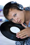 DJ with headphones Stock Images
