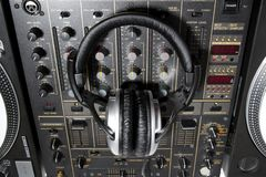 Dj headphones on mixer Royalty Free Stock Photography