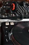 DJ headphones and mixer controller Royalty Free Stock Photography