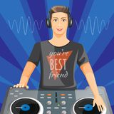 DJ in headphones plays music on modern turntable Stock Image
