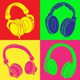 DJ Headphones POP Design. Four DJ Headphones in a POP Design Stock Photography