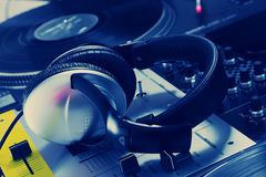 DJ headphones on sound mixer Stock Photo
