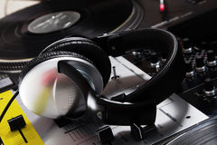 DJ headphones on sound mixer Stock Photos