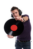 Dj in headphones twisting a plate. Isolated in white background - focus on the plate stock photo
