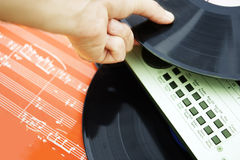 DJ holding vinyl Royalty Free Stock Photography