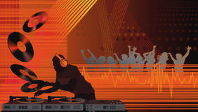Dj in the House. Dance club with dj and people dancing royalty free illustration