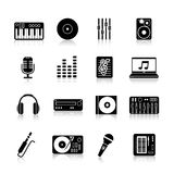 Dj Icons Black Set Stock Photography