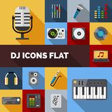 Dj Icons Flat Set Royalty Free Stock Photography