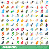 100 dj icons set, isometric 3d style. 100 dj icons set in isometric 3d style for any design vector illustration Stock Illustration