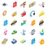 Dj icons set, isometric style. Dj icons set. Isometric set of 25 dj vector icons for web isolated on white background Royalty Free Stock Photo