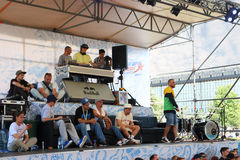 DJ and jury at Street fight. PERM, RUSSIA - JUN 12, 2016: DJ and jury at Street fight festival and street stage during Day of Russia holiday, this is public stock photo
