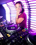 Dj Katrin Vesna at a nightclub in Moscow Stock Image