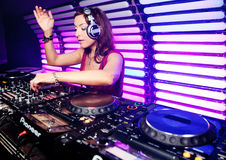 Dj Katrin Vesna at a nightclub in Moscow Stock Photos
