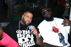 DJ Khaled and Rick Ross. Spin Master DJ Khaled and Hip Hop artist Rick Ross hanging out at Chin Chin in West Hollywood, Ca., before the 2010 BET Awards Stock Image