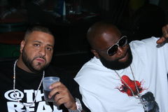 DJ Khaled and Rick Ross. Have drinks and hang out at the Sean John Pre-Award Outdoor Jam taking place at the Borracho Cantina in West Hollywood, Ca., before Royalty Free Stock Images