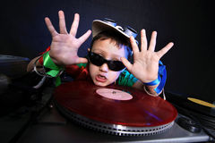 DJ kid in action Stock Image