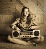 Dj lady with  record player Royalty Free Stock Images