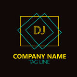 DJ  Letter Logo Design. Stock Photos