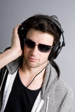 Dj listening to music Stock Images