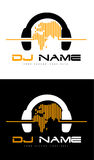 DJ Logo. An illustration of a Dj logo representing headphones with sound waves made out of world map Royalty Free Stock Image