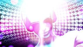 DJ-Mädchen mit Kopfhörern (Schleifen-Animation) lizenzfreie abbildung