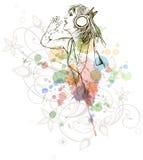 DJ-Mädchen u. Musikfarben mischen - Blumenkalligraphie lizenzfreie stockfotografie