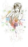 DJ-Mädchen u. Musikfarben mischen - Blumenverzierung Stockfotos
