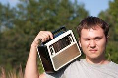Dj man with radio stock images